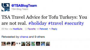Tofu Turkey may not be real, but this TSA Tweet is.